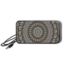 Celestial Pinwheel Of Pattern Texture And Abstract Shapes N Brown Portable Speaker (Black)