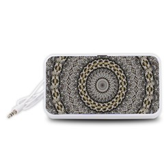 Celestial Pinwheel Of Pattern Texture And Abstract Shapes N Brown Portable Speaker (White)