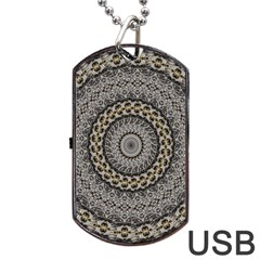 Celestial Pinwheel Of Pattern Texture And Abstract Shapes N Brown Dog Tag USB Flash (One Side)