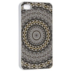 Celestial Pinwheel Of Pattern Texture And Abstract Shapes N Brown Apple iPhone 4/4s Seamless Case (White)