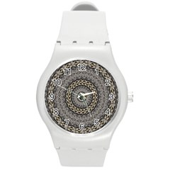 Celestial Pinwheel Of Pattern Texture And Abstract Shapes N Brown Round Plastic Sport Watch (m)