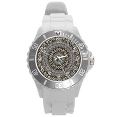 Celestial Pinwheel Of Pattern Texture And Abstract Shapes N Brown Round Plastic Sport Watch (L)