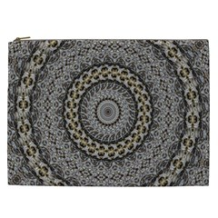 Celestial Pinwheel Of Pattern Texture And Abstract Shapes N Brown Cosmetic Bag (xxl)