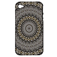 Celestial Pinwheel Of Pattern Texture And Abstract Shapes N Brown Apple iPhone 4/4S Hardshell Case (PC+Silicone)