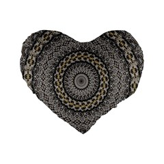 Celestial Pinwheel Of Pattern Texture And Abstract Shapes N Brown Standard 16  Premium Heart Shape Cushions