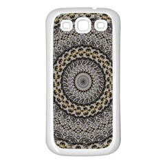 Celestial Pinwheel Of Pattern Texture And Abstract Shapes N Brown Samsung Galaxy S3 Back Case (White)