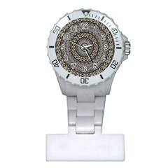 Celestial Pinwheel Of Pattern Texture And Abstract Shapes N Brown Plastic Nurses Watch
