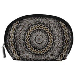 Celestial Pinwheel Of Pattern Texture And Abstract Shapes N Brown Accessory Pouches (large)