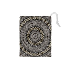 Celestial Pinwheel Of Pattern Texture And Abstract Shapes N Brown Drawstring Pouches (Small)