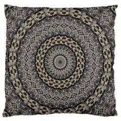 Celestial Pinwheel Of Pattern Texture And Abstract Shapes N Brown Large Flano Cushion Case (two Sides)