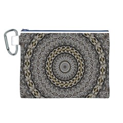 Celestial Pinwheel Of Pattern Texture And Abstract Shapes N Brown Canvas Cosmetic Bag (L)