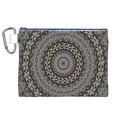Celestial Pinwheel Of Pattern Texture And Abstract Shapes N Brown Canvas Cosmetic Bag (xl)