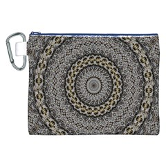 Celestial Pinwheel Of Pattern Texture And Abstract Shapes N Brown Canvas Cosmetic Bag (xxl)