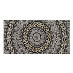 Celestial Pinwheel Of Pattern Texture And Abstract Shapes N Brown Satin Shawl