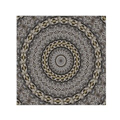 Celestial Pinwheel Of Pattern Texture And Abstract Shapes N Brown Small Satin Scarf (square)