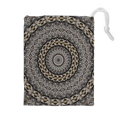 Celestial Pinwheel Of Pattern Texture And Abstract Shapes N Brown Drawstring Pouches (Extra Large)