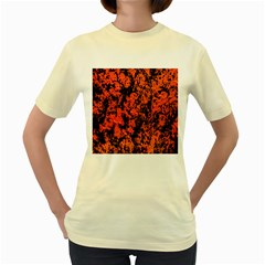 Abstract Orange Background Women s Yellow T Shirt
