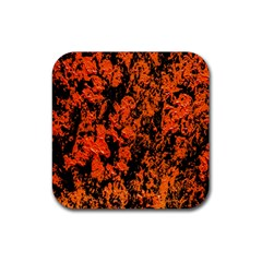 Abstract Orange Background Rubber Square Coaster (4 pack)