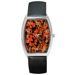 Abstract Orange Background Barrel Style Metal Watch