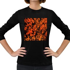 Abstract Orange Background Women s Long Sleeve Dark T-Shirts