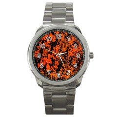 Abstract Orange Background Sport Metal Watch