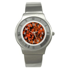 Abstract Orange Background Stainless Steel Watch