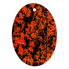Abstract Orange Background Oval Ornament (two Sides)