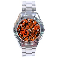 Abstract Orange Background Stainless Steel Analogue Watch