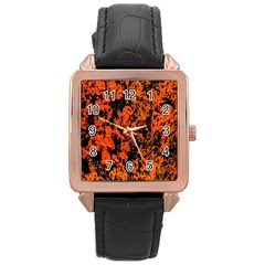 Abstract Orange Background Rose Gold Leather Watch