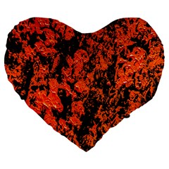 Abstract Orange Background Large 19  Premium Flano Heart Shape Cushions