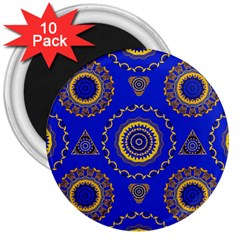 Abstract Mandala Seamless Pattern 3  Magnets (10 pack)