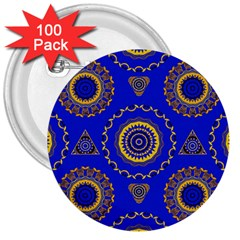 Abstract Mandala Seamless Pattern 3  Buttons (100 pack)