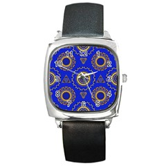 Abstract Mandala Seamless Pattern Square Metal Watch