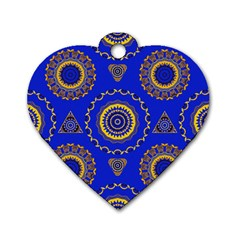 Abstract Mandala Seamless Pattern Dog Tag Heart (one Side)