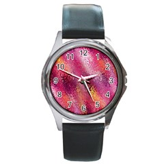 Red Seamless Abstract Background Round Metal Watch