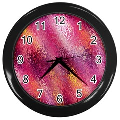 Red Seamless Abstract Background Wall Clocks (Black)