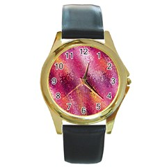 Red Seamless Abstract Background Round Gold Metal Watch