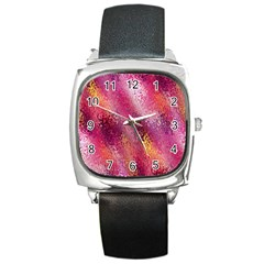 Red Seamless Abstract Background Square Metal Watch
