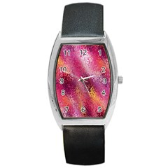 Red Seamless Abstract Background Barrel Style Metal Watch