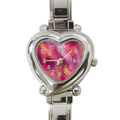 Red Seamless Abstract Background Heart Italian Charm Watch