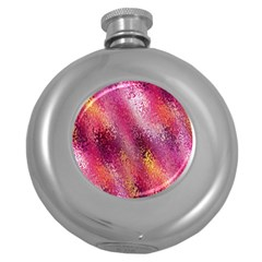 Red Seamless Abstract Background Round Hip Flask (5 Oz)