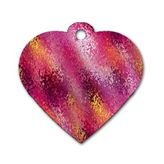 Red Seamless Abstract Background Dog Tag Heart (two Sides)