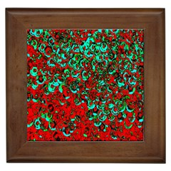 Red Turquoise Abstract Background Framed Tiles
