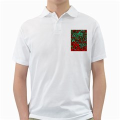 Red Turquoise Abstract Background Golf Shirts