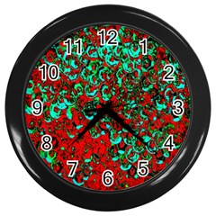 Red Turquoise Abstract Background Wall Clocks (Black)