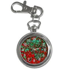 Red Turquoise Abstract Background Key Chain Watches