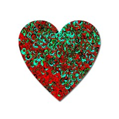 Red Turquoise Abstract Background Heart Magnet