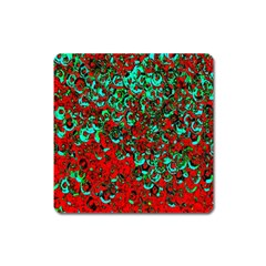Red Turquoise Abstract Background Square Magnet