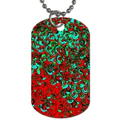 Red Turquoise Abstract Background Dog Tag (one Side)
