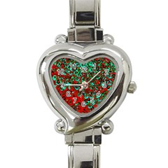 Red Turquoise Abstract Background Heart Italian Charm Watch